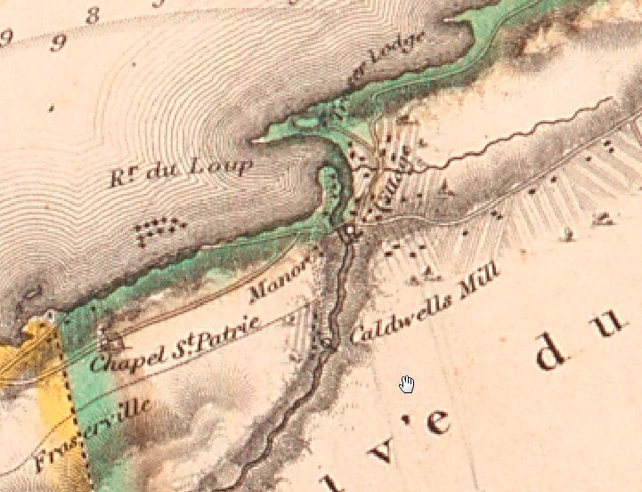 Carte de Joseph Bouchette, 1831 (Source : BAnQ, E21, S555, SS1, SSS15, P1_3)